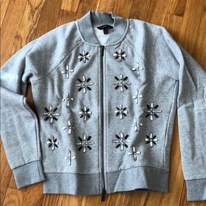 Banana Republic jeweled bomber sweatshirt